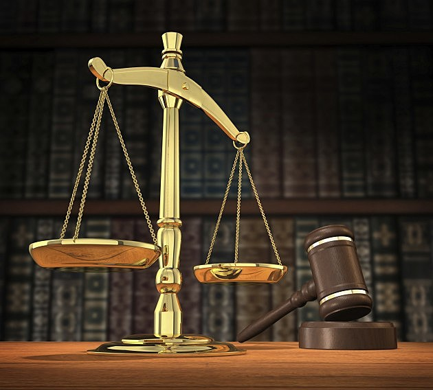 Scales and Gavel in court room